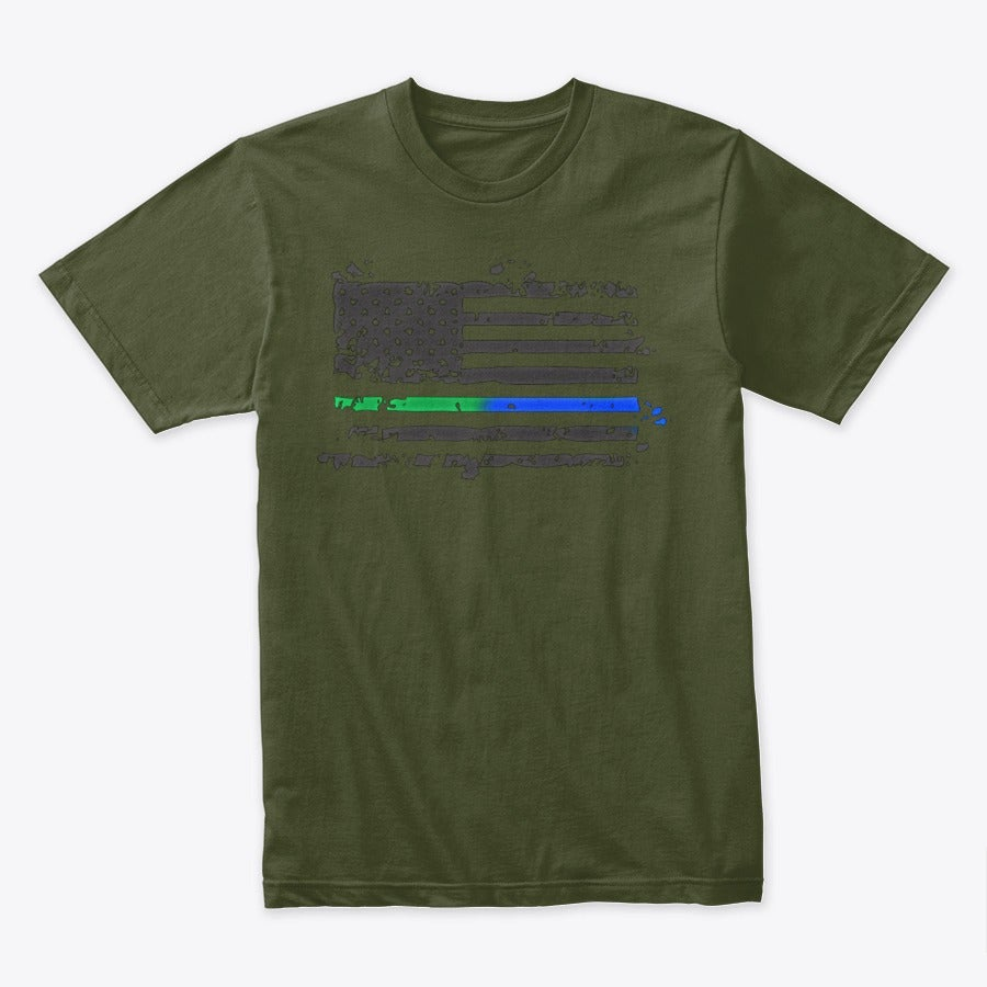 Image of BLUE/GREEN LINE ~ SUPPORT YOUR LAW ENFORCEMENT TEE