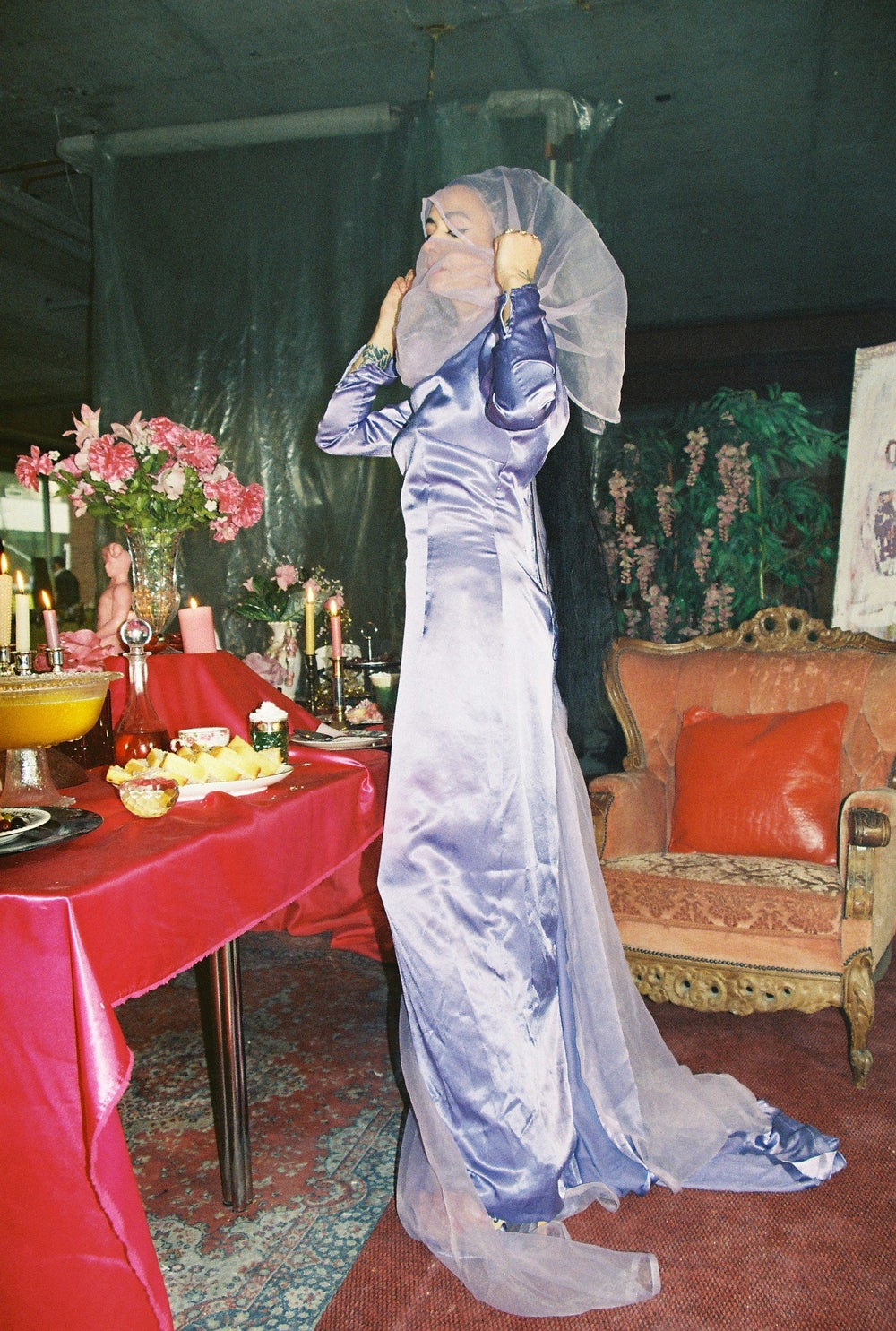 Image of Purple Veiled Dress