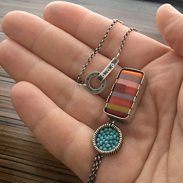 Image of Exclamation Fused Glass Necklace in Retro