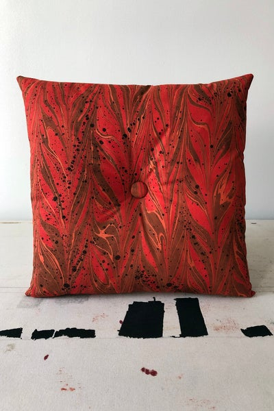 Image of Button Pillow - Tangerine