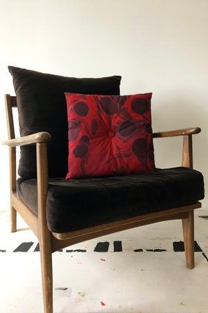 Image of Button Pillow - Berry
