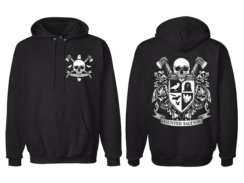 Image of Haunted Saginaw Crest Pullover Hooded Sweatshirt