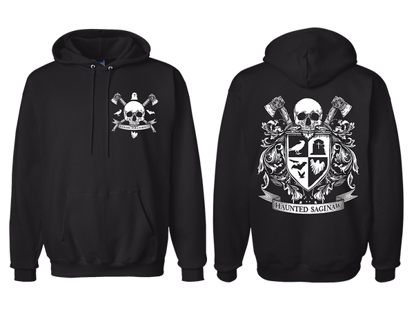 Image of Haunted Saginaw Crest Pullover Hooded Sweatshirt