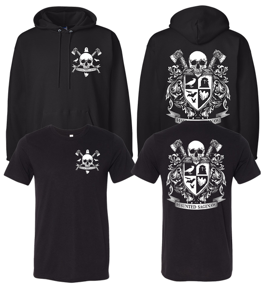 Image of Haunted Saginaw Crest T-shirt and Pullover Hoodie Combo