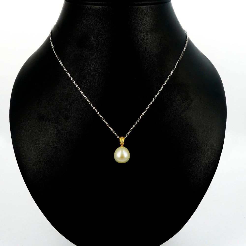 Image of 18ct yellow gold large South Sea Pearl and Diamond pendant. NL10