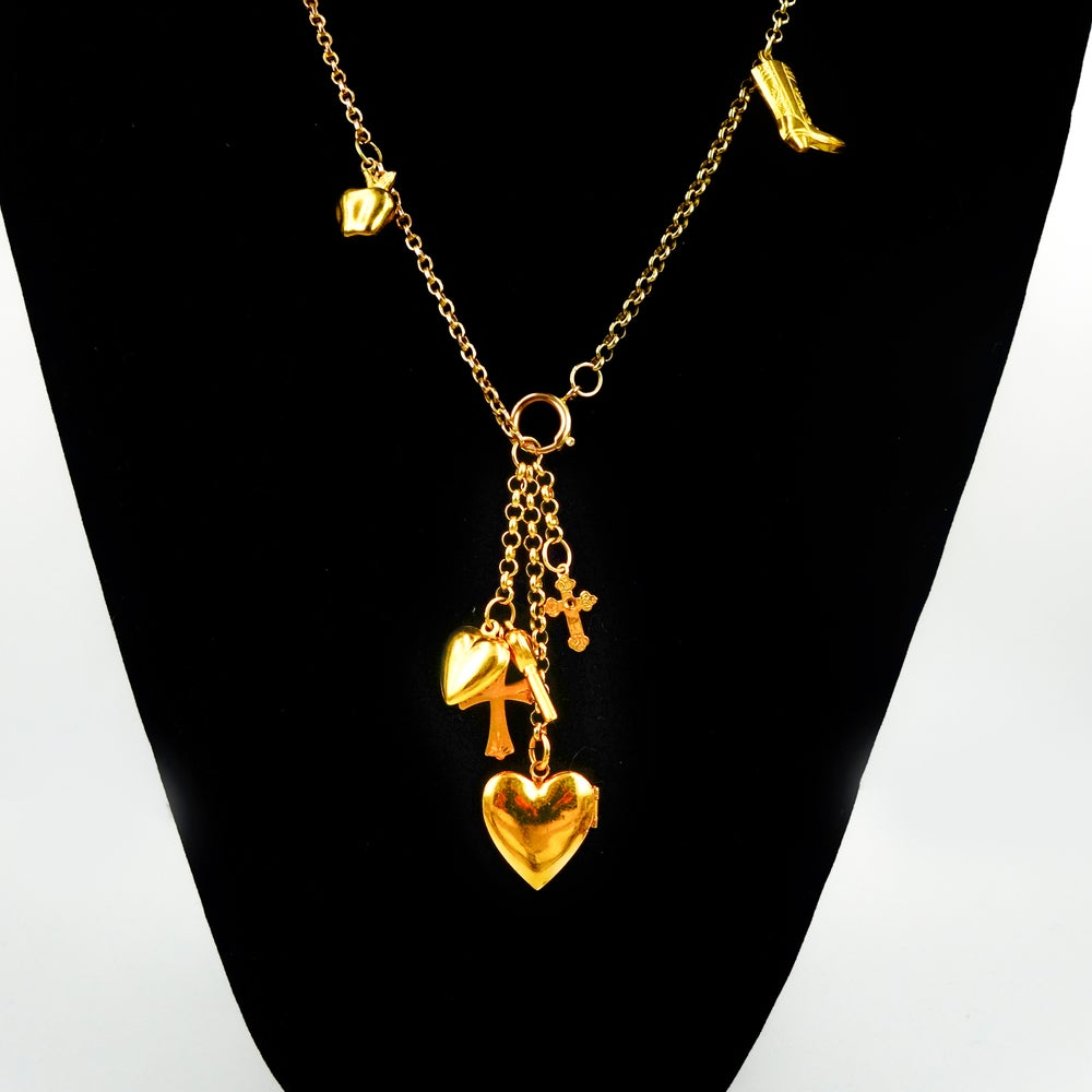 Image of 18ct yellow gold multi pendant necklace.NL11