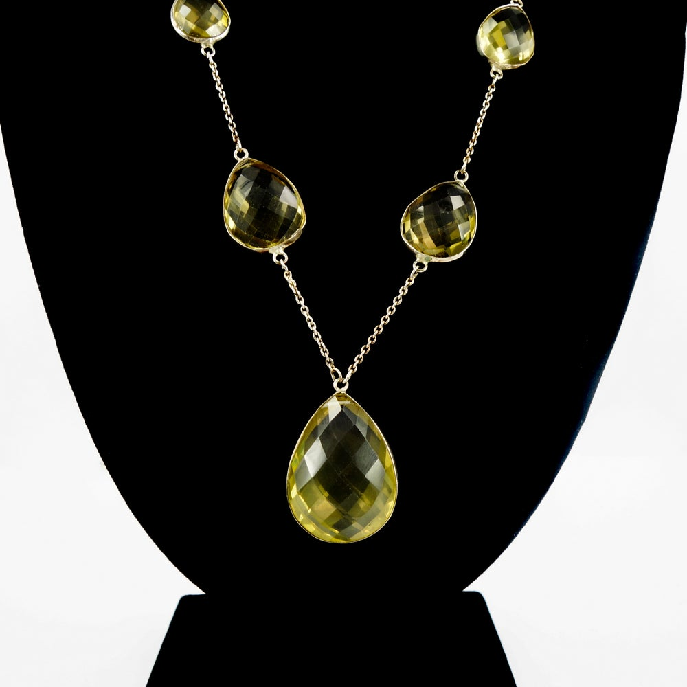 Image of Large lemon quartz sterling silver necklace. NL12