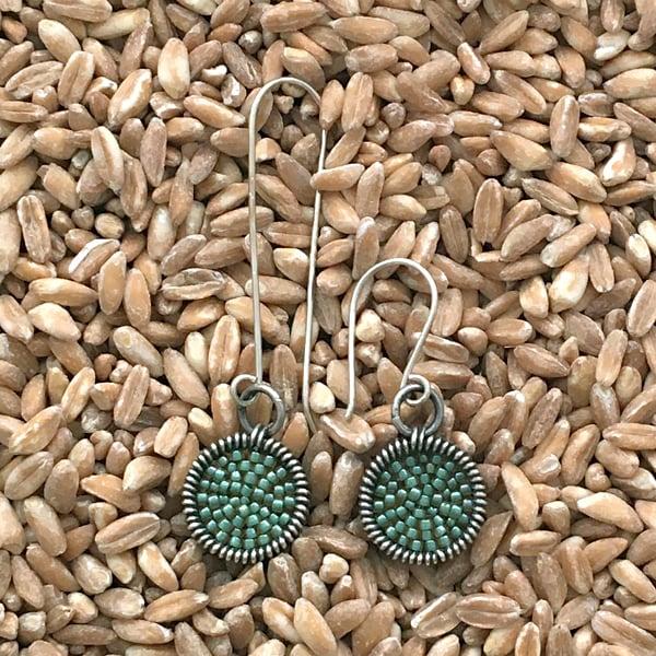 Image of Deep Frame dot Earrings in Mint Julep