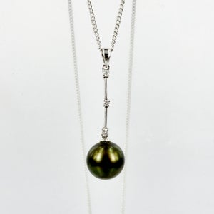 Image of Tahitian pearl and diamond long pendant. NL14