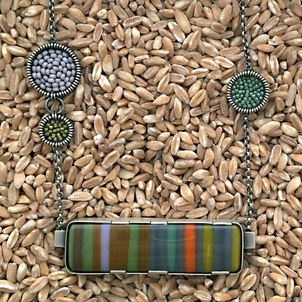 Image of Horizontal Fused Glass Necklace in Forest