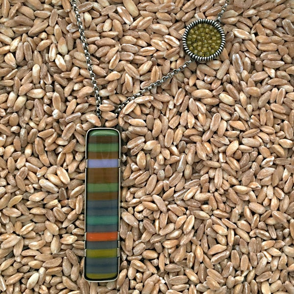 Image of Slim Vertical Fused Glass Necklace in Forest