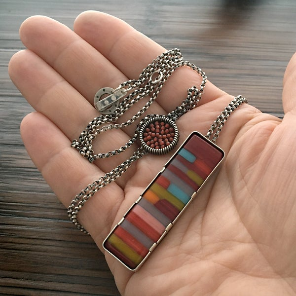 Image of Vertical Fused Glass Layering Necklace in Retro