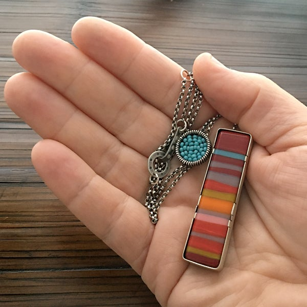 Image of Vertical Fused Glass Necklace in Retro