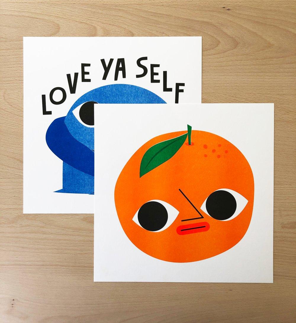 Image of Orange boi - 254mm square risograph print