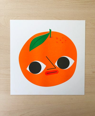 Image of Orange boi - 254mm square risograph print
