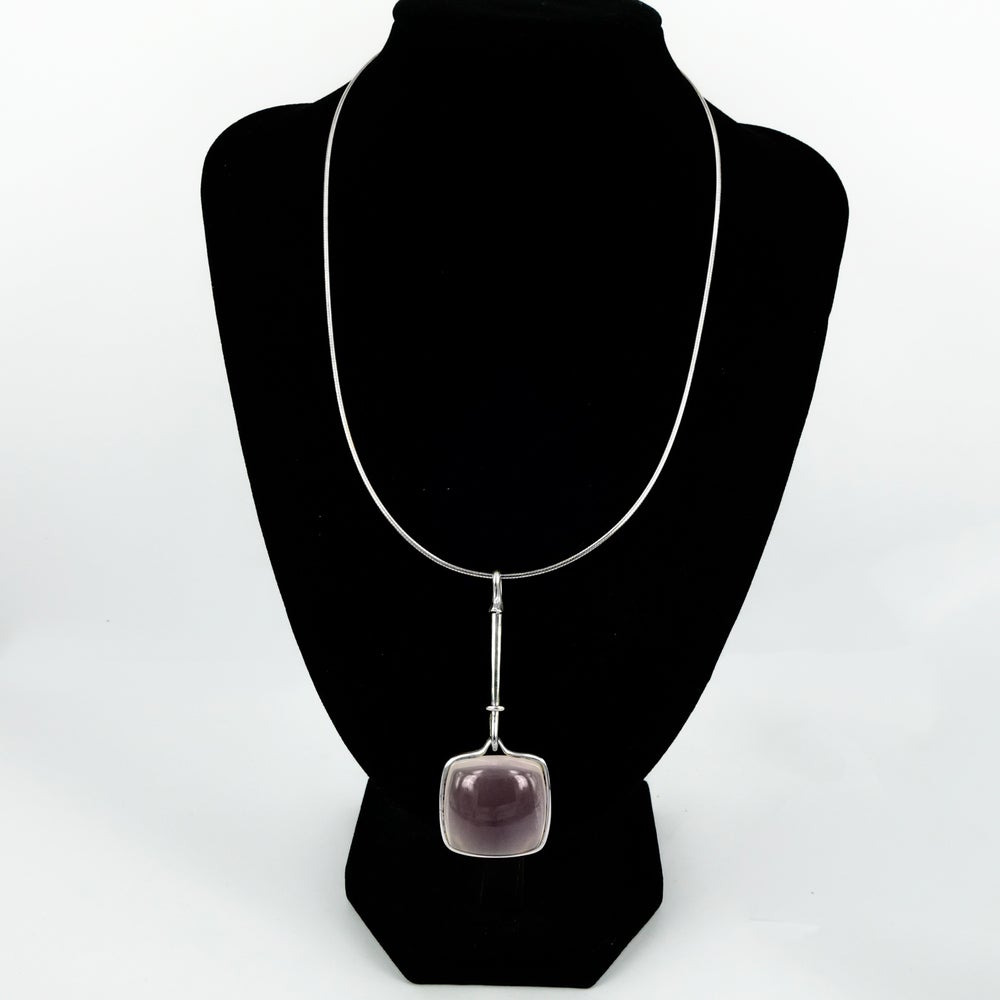Image of Large Art Neuvo style Rose Quartz Sterling Silver pendant. NL15a