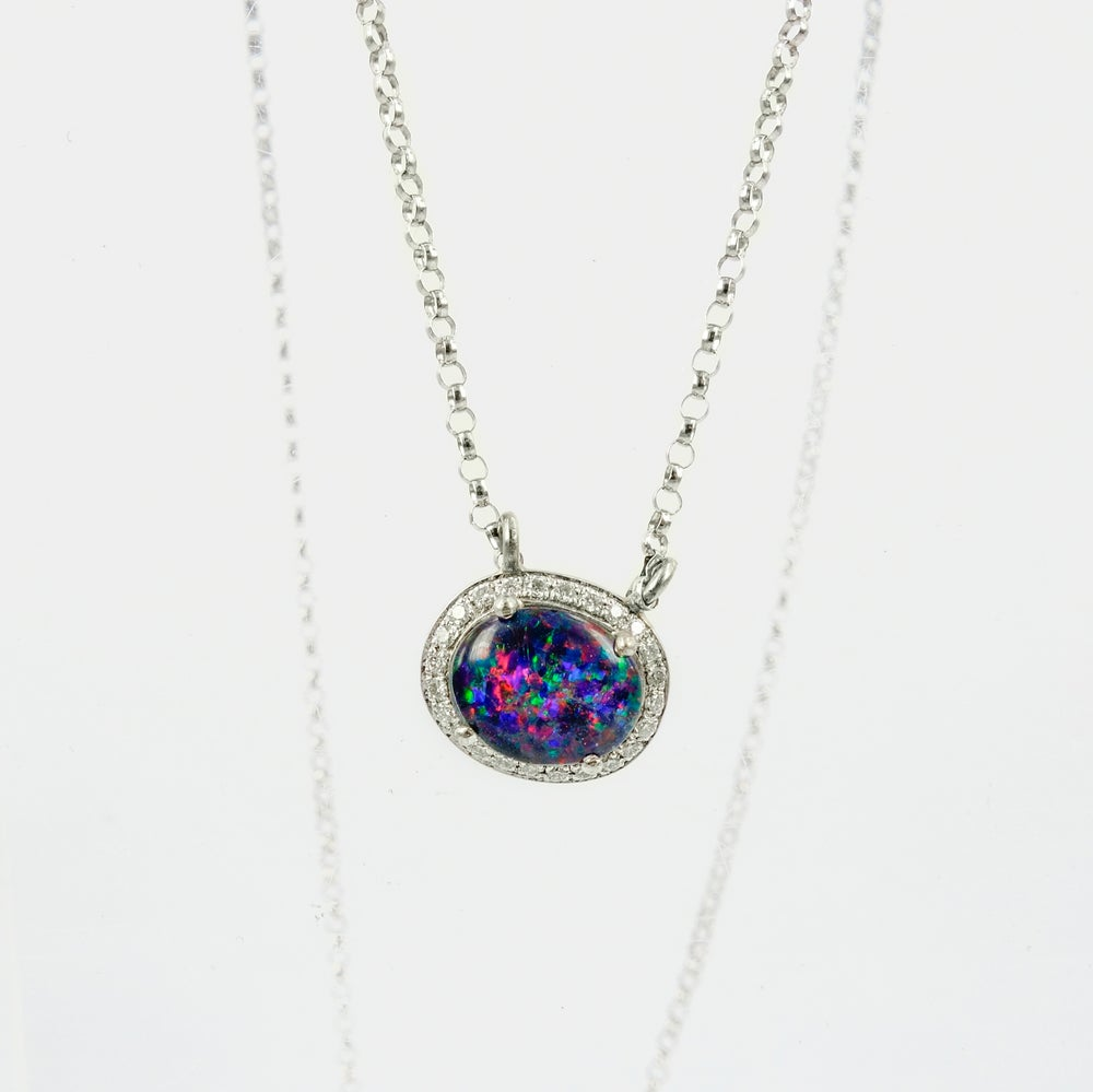 Image of 18ct white gold Black Opal and Diamond set necklet. P0934