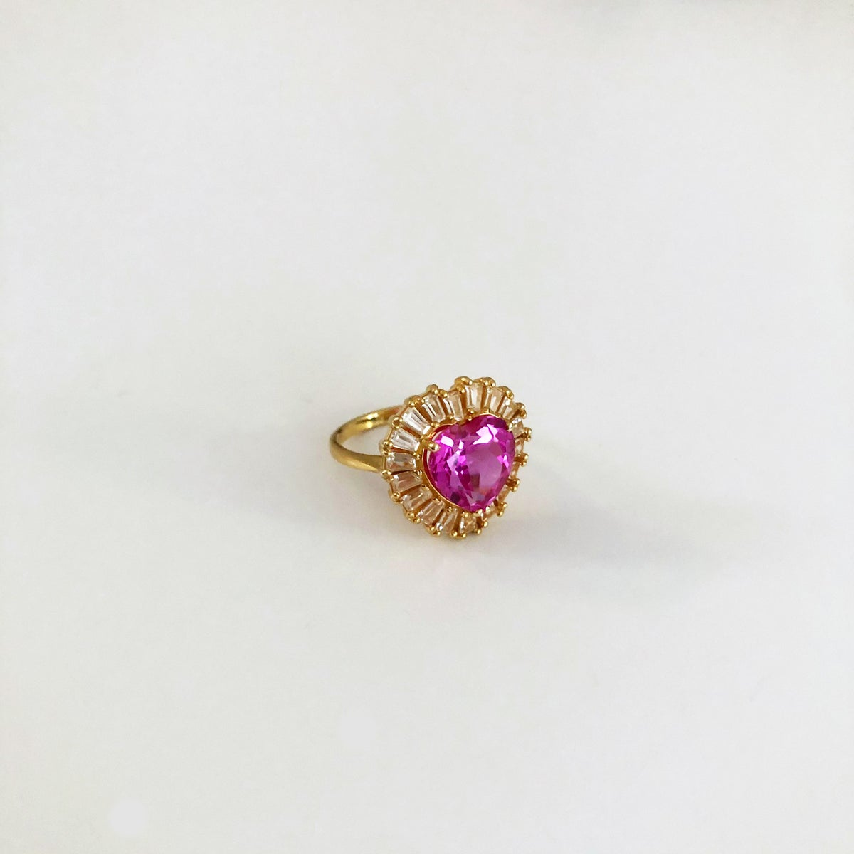 Image of Pink Topaz love heart ring