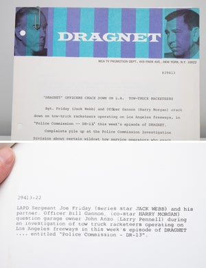 "Image of 1967 Official Dragnet Letterhead and matching TV Series Show Publicity Photo ""Tow-truck Drivers LA"
