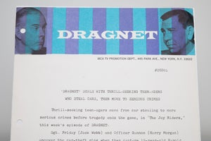"Image of VTG 1967 Official Dragnet Letterhead and matching TV Series Show Publicity Photo "" The Joy Riders"""