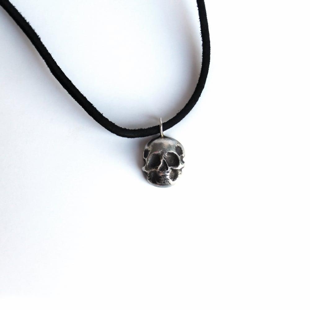 Sterling Silver Skull Leather Choker