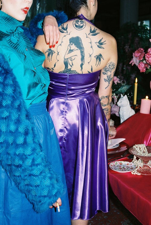 Image of Purple Halter Dress