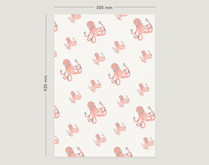 Image of Gift Wrapping Paper / OCTOPUS WITH GIFTS / Birthday Wrapping paper