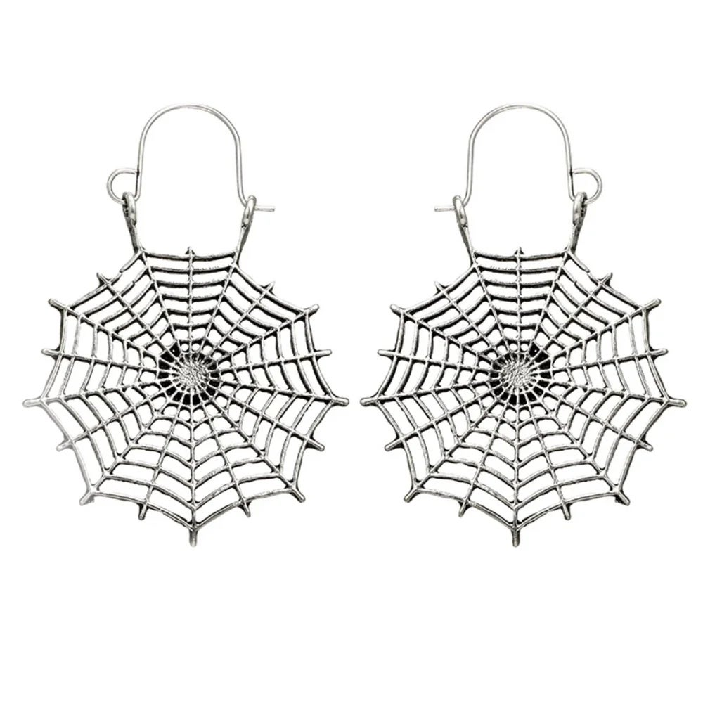 Image of Black Widow cobweb earrings