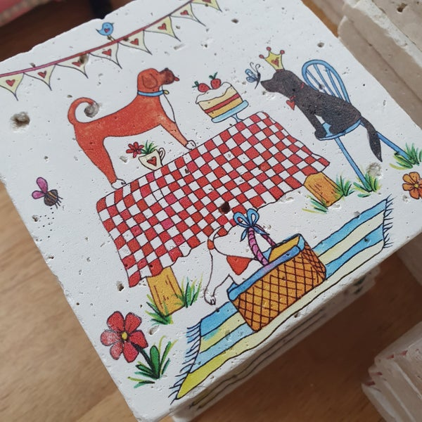 Image of 'Doggie Picnic' Stone Coaster