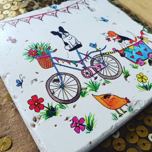 Image of 'Bicycle Ride' Stone Coaster