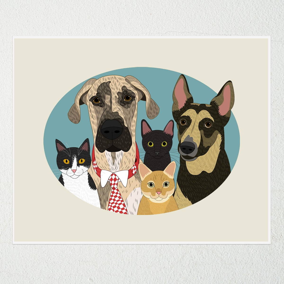 Image of 5 or more pet portraits in a single oval frame.