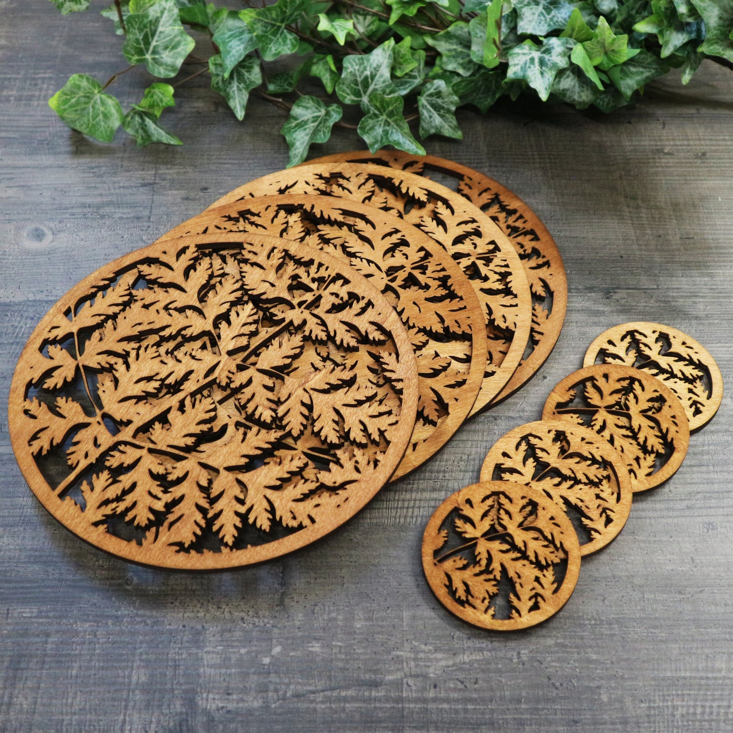 Image of Sweet Cicely Woodcut Table Set - Placemats & Coasters