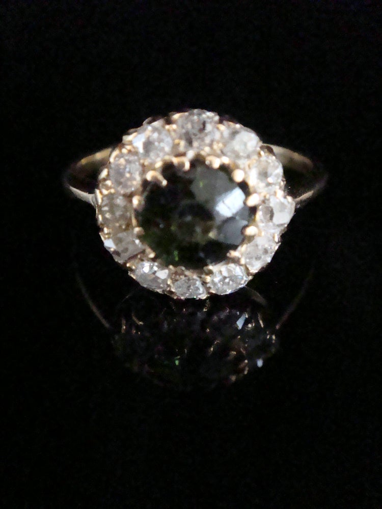 Image of EDWARDIAN 18CT YELLOW GOLD NATURAL TOURMALINE OLD CUT DIAMOND CLUSTER HALO RING