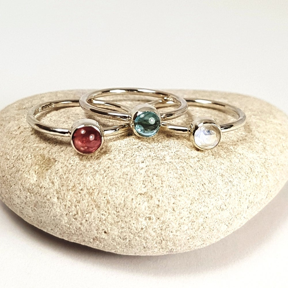 Image of Sterling Silver Stacking Rings - 'Pink Sky'