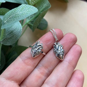 Image of Anatomical Heart 925 Sterling Silver Pendant Necklace