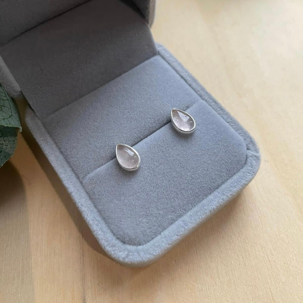 Image of Teardrop 925 Sterling Silver Studs with Rose Quartz
