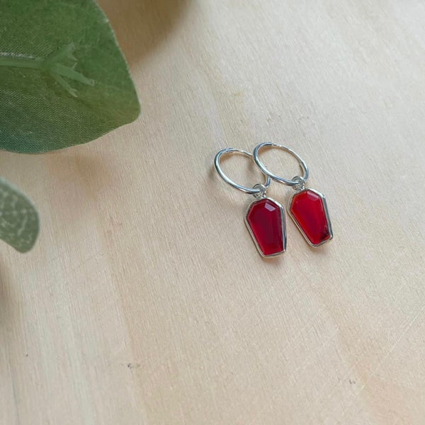Image of Casket Red Garnet 925 Sterling Silver Coffin Sleeper Hoop Earrings