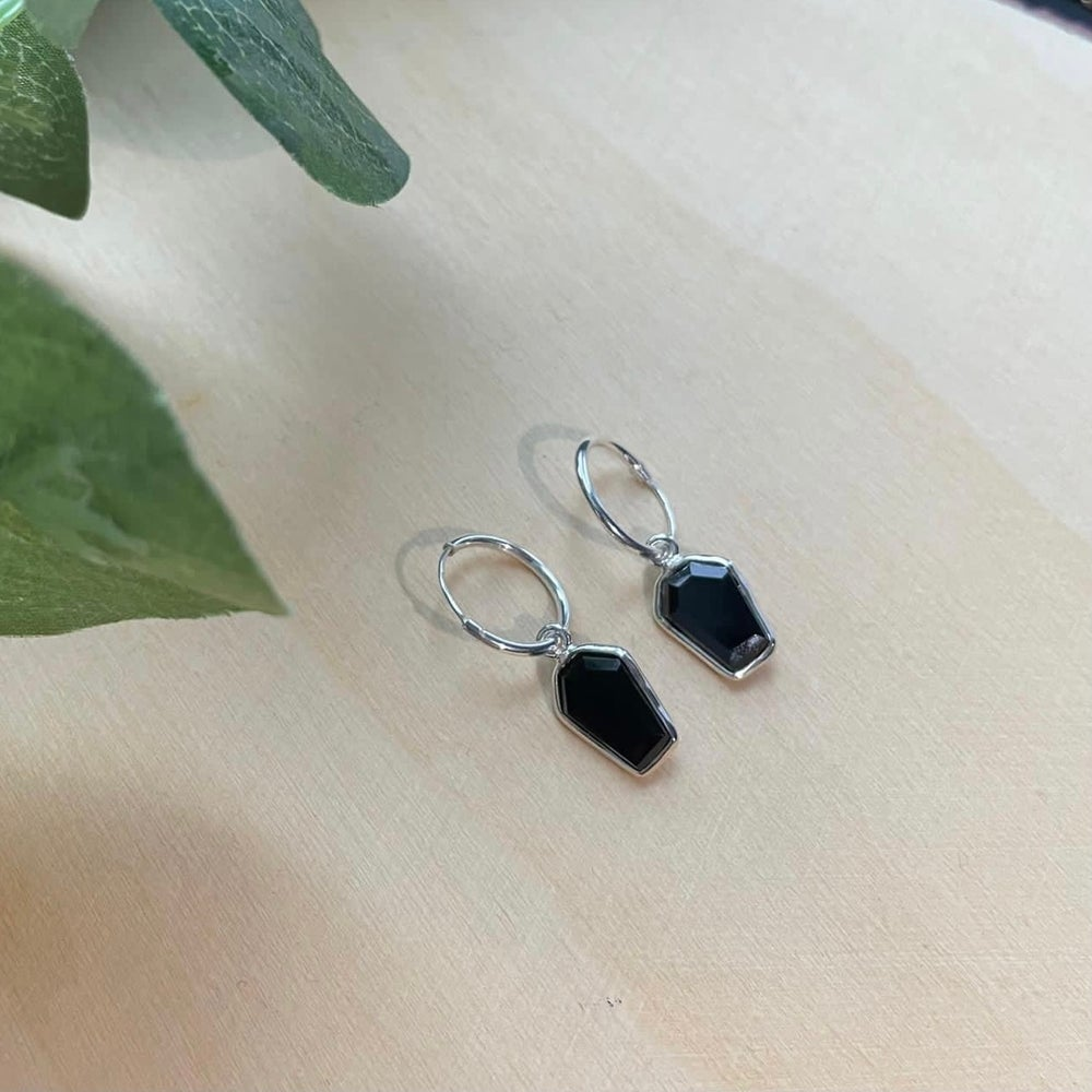 Image of Casket Black Onyx 925 Sterling Silver Coffin Sleeper Hoop Earrings