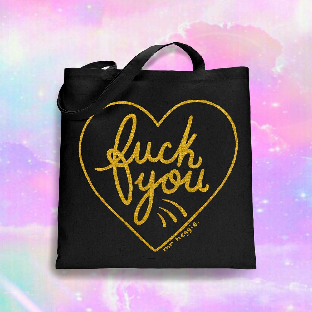 Image of The gold fuck you tote bag