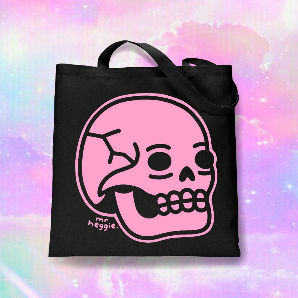 Image of The pink skull tote bag