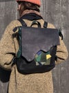 BsD Backpack Black Leather with leather remnant collage