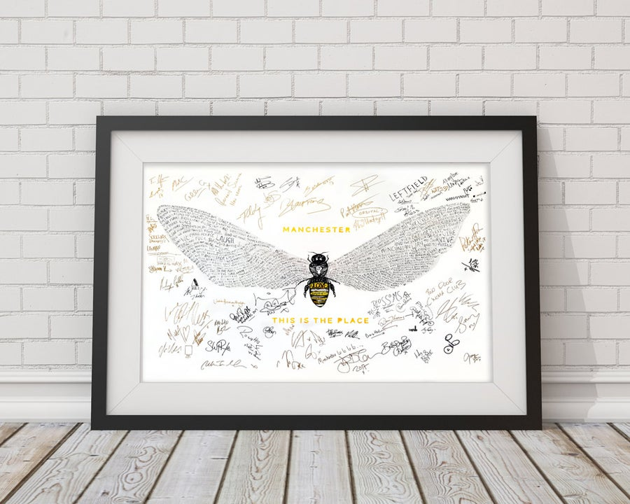 Image of Bee Love   This is the Place   Gold Limited Edition A2 Signed Print