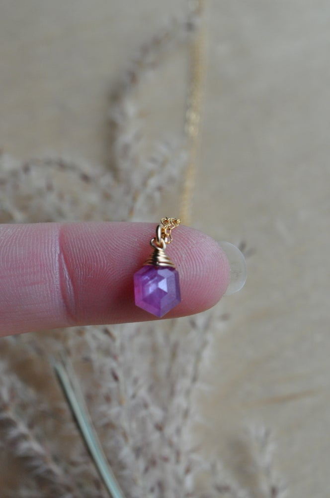 Image of Tiny Pink Sapphire Hexagon Necklace