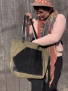 Waxed Army Green Canvas & Black Leather with Camo Interior Tote bag