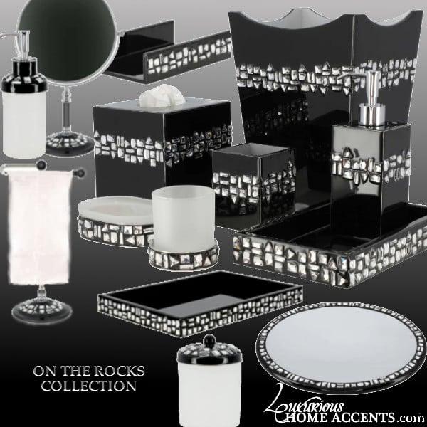 Image of Swarovski Crystal Custom Bath and Vanity Accessories - On The Rocks