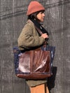 Reclaimed Southwest-inspired Textile and Chestnut Brown Leather Totebag