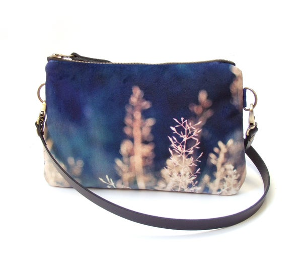 Image of Blue meadow grasses, mini velvet shoulder bag with crossbody leather strap