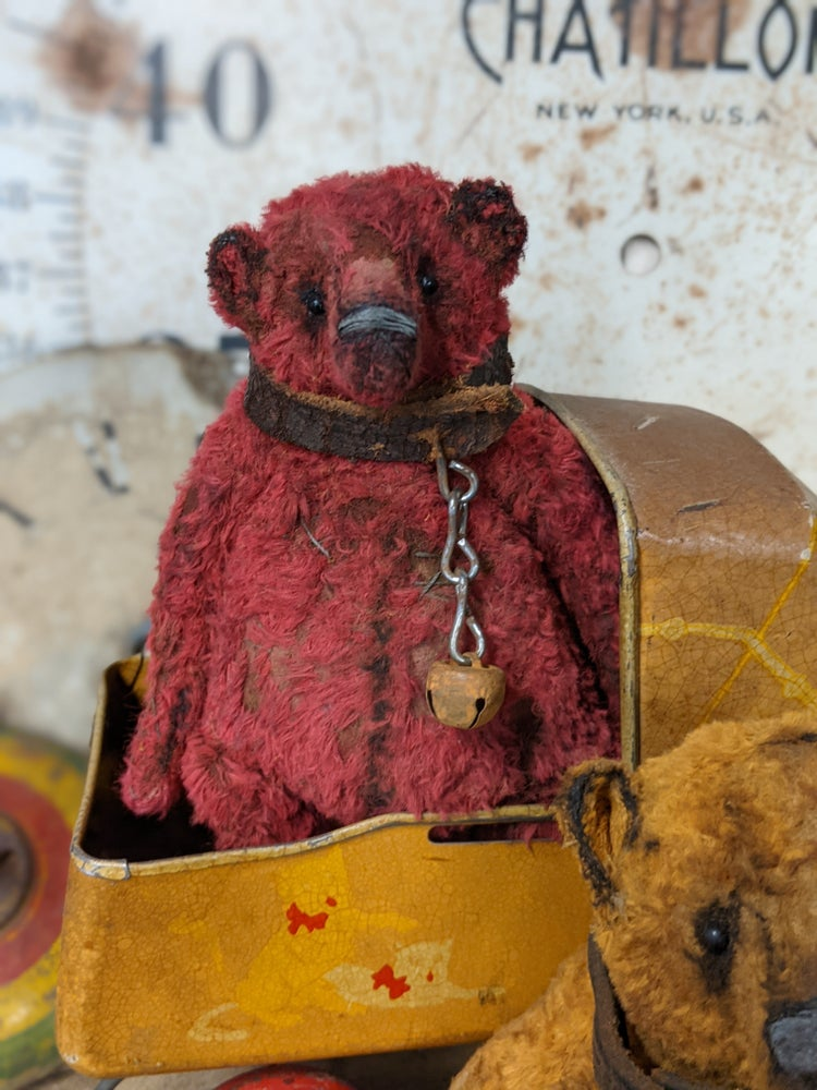 """Image of 6"""" old fat worn RED Teddy Bear w/antique leather collar by WHendi's Bears"""
