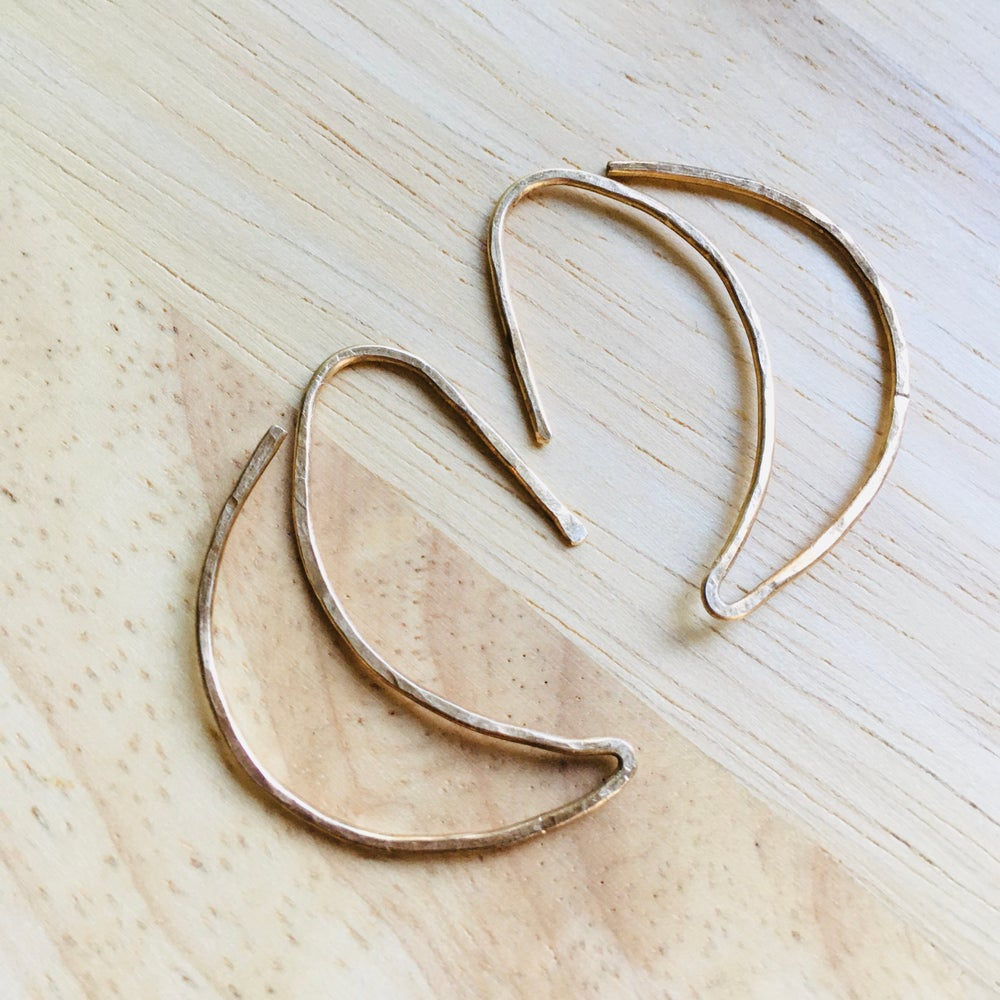Image of Crescent Moon Hammered Hoops