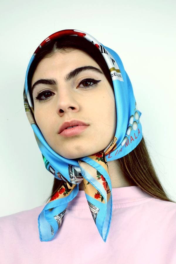 Image of Plaisir D'Amour / Bleu Silk Scarf